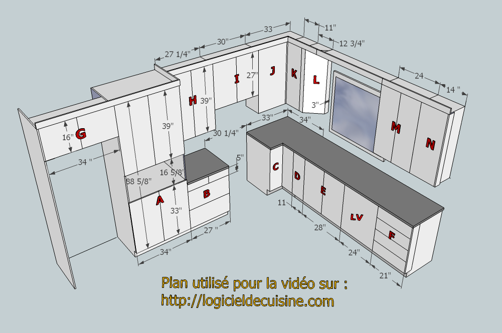 exemple du travail r alis avec le logiciel de cuisine fusion 3d. Black Bedroom Furniture Sets. Home Design Ideas